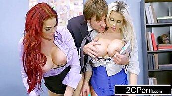 banging a slut, blondies, boss fucking, cock sucking, dick sucking, double penetration, ffm sex, gigantic boobs